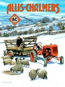 Allis Chalmers Tractor in snow Metal Sign